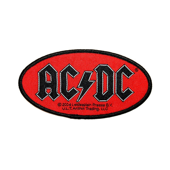 AC/DC ACDC Oval Name Logo Patch Hard Blues Rock and Roll Woven Sew On Applique
