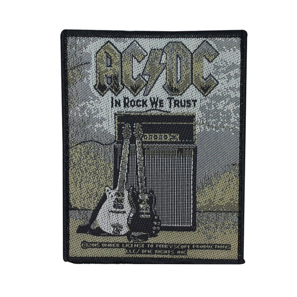 AC/DC ACDC In Rock We Trust Patch Angus Young Guitars Fan Woven Sew On Applique