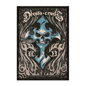 Devil's Cross Skull & Hell Flames Patch Alchemy Carta Woven Sew On Applique