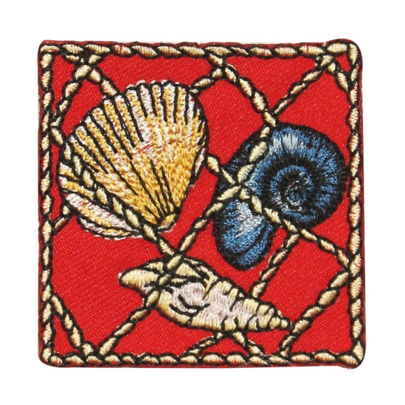 ID 0274 Snail Clam Seashell Net Patch Sea Ocean Embroidered Iron On Applique