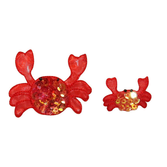 ID 0317AB Set of 2 Red Sequin Crab Patch Tropical Sea Life Iron On Applique