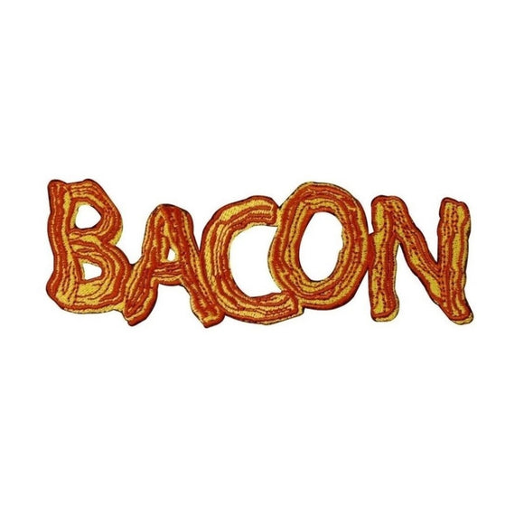 BACON Patch Word Breakfast Meat Lover Food Embroidered Iron-On Applique