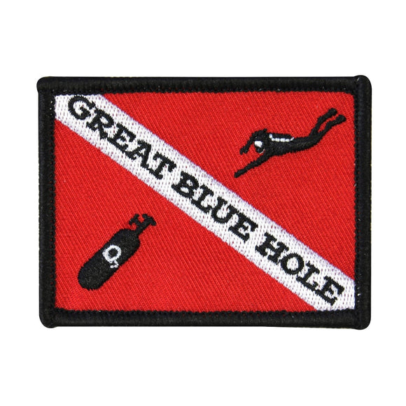 Great Blue Hole Patch Scuba Diving Belize Swim Embroidered Iron On Applique