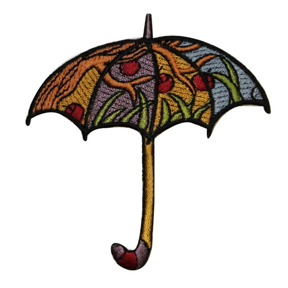ID 0029 Colorful Umbrella Patch Hippie Peace Embroidered Iron On Applique
