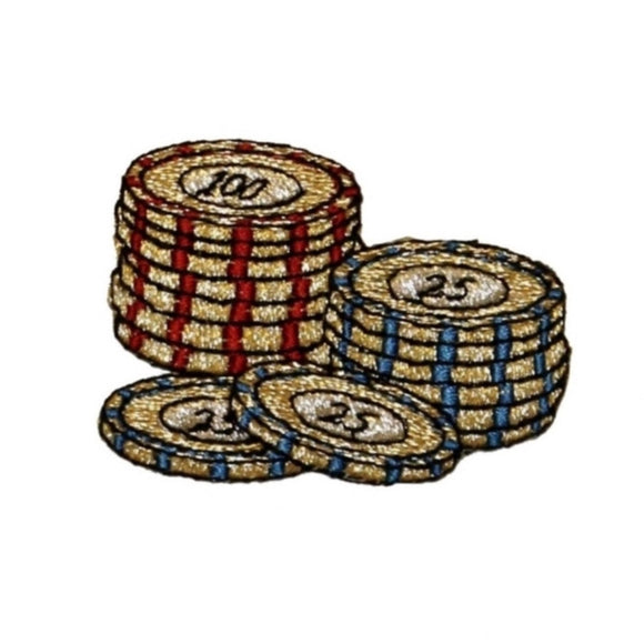 ID 0079B Large Stack of Poker Chips Patch Casino Embroidered Iron On Applique