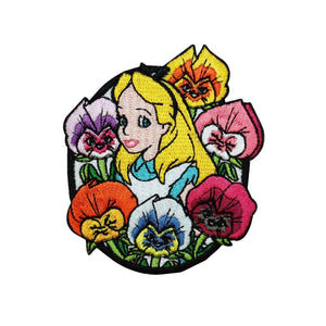 Alice in Wonderland Flowers Patch Disney Cartoon Embroidered Iron On Applique