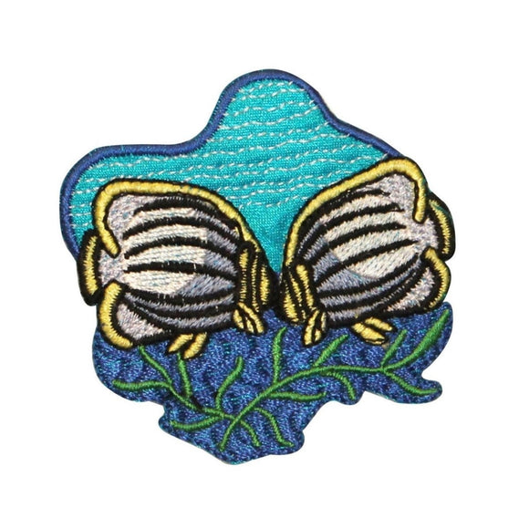 ID 0220 Tropical Butterfly Fish Mates Patch Fishing Embroidered Iron On Applique