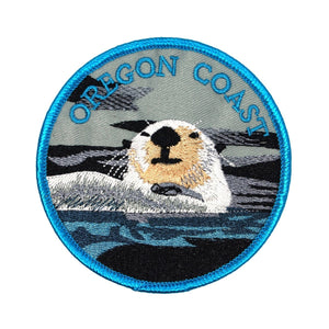 Oregon Coast Sea Otter Patch US State Travel Badge Embroidered Iron On Applique