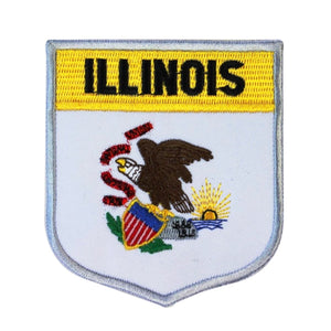 State Flag Shield Illinois Patch Badge Travel USA Embroidered Sew On Applique
