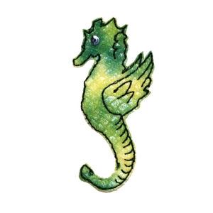 ID 0304 Green Seahorse Patch Sea Life Fish Ocean Embroidered Iron On Applique