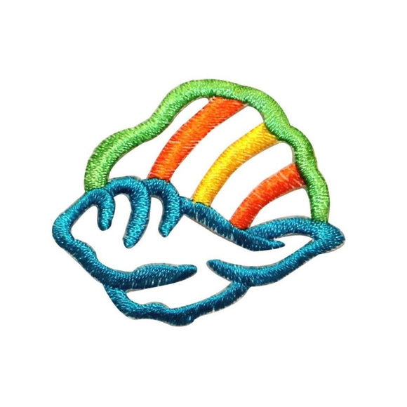 ID 0372 Hawaiian Seashell Outline Patch Sandy Beach Embroidered Iron On Applique