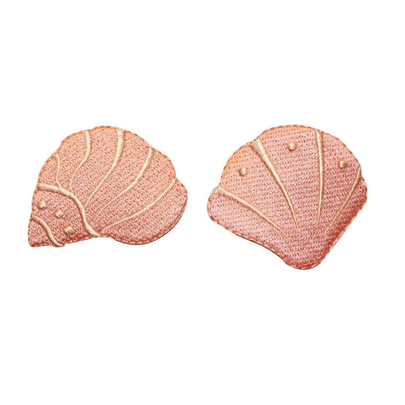 ID 0382AB Set of 2 Pink Seashell Patch Beach Ocean Embroidered Iron On Applique