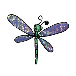ID 0474G Happy Dragonfly With Shiny Wings Patch Bug Embroidered Iron On Applique
