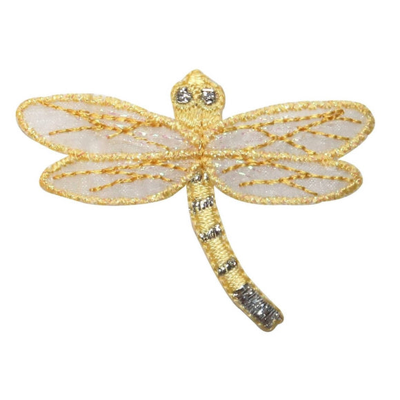 ID 0475A Yellow Dragonfly With Lace Patch Garden Embroidered Iron On Applique