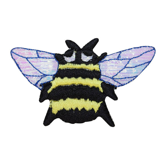 ID 0434 Bumble Bee Patch Shiny Wings Bug Insect Embroidered Iron On Applique