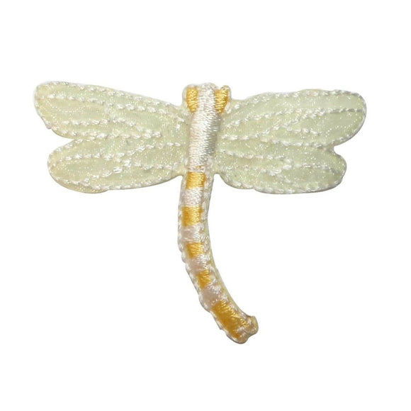 ID 0480B Yellow Dragonfly Patch Garden Fairy Bug Embroidered Iron On Applique