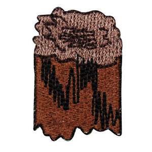 ID 0570C Camp Fire Wood Patch Stump Logs Scout Burn Embroidered Iron On Applique