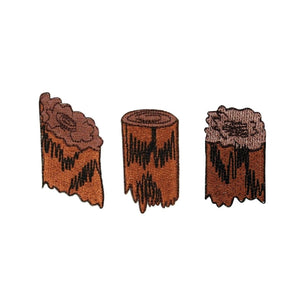 ID 0570ABC Set of 3 Camping Fire Wood Patches Logs Embroidered Iron On Applique