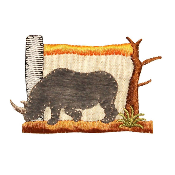 ID 0584 Rhinoceros Safari Patch Rhino Scene African Embroidered Iron On Applique