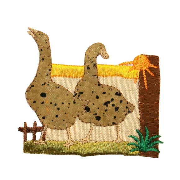 ID 0585 Pair of Ducks Patch Geese Scene Farm Speck Embroidered Iron On Applique
