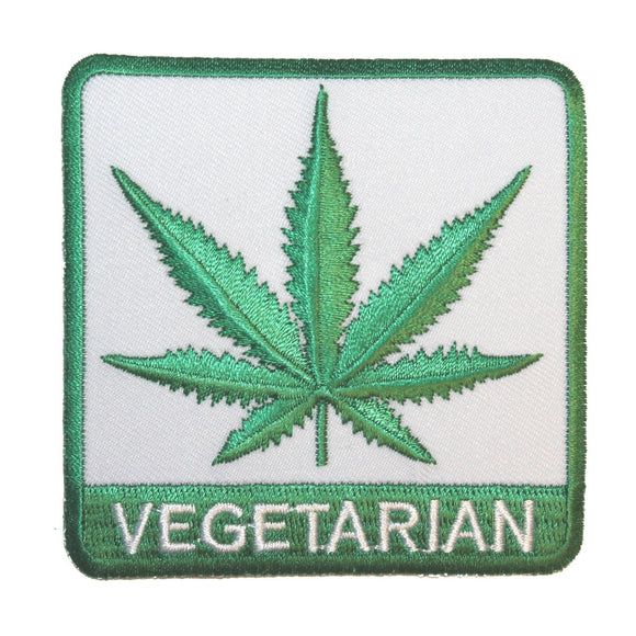 Vegetarian Pot Leaf Stoner Cannabis Smoker Embroidered Iron On Applique Patch
