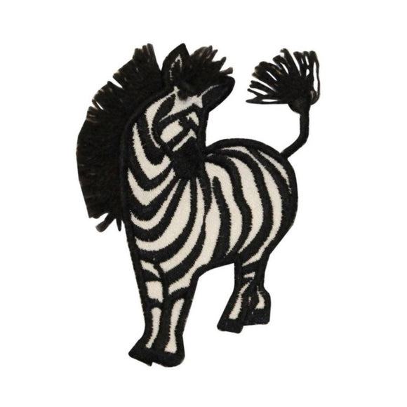 ID 0628A Wild Zebra Patch Long Mane Safari Animal Embroidered Iron On Applique