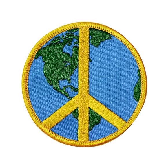 3 Inch Global Peace Sign Iron-On Patch Planet Earth Hippie Accessory Application