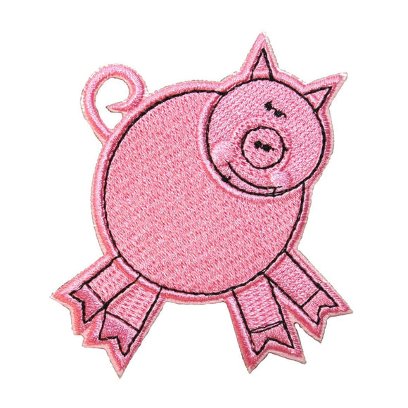 ID 0721B Pink Porky Pig Swine Farm Animal Embroidered Iron On Applique Patch