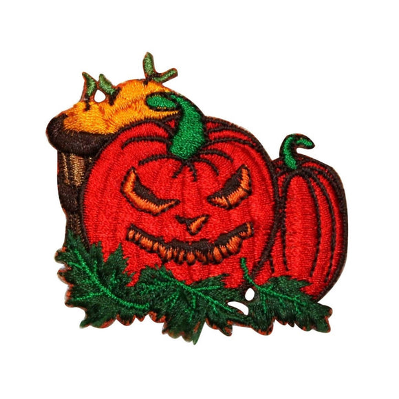 ID 0804 Scary Jack O Lantern Patch Halloween Plant Embroidered Iron On Applique