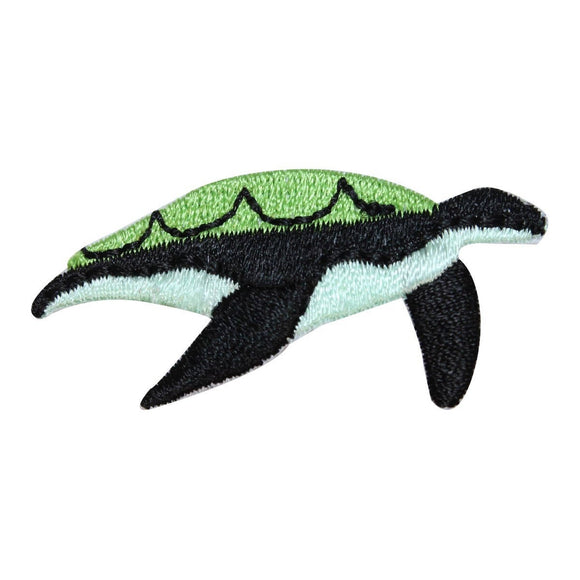 ID 0728B Small Sea Turtle Swimming Patch Ocean Embroidered Iron On Applique