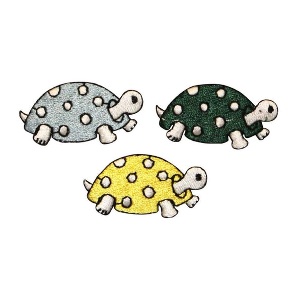 ID 0729BCD Set of 3 Cartoon Spotted Turtle Patches Embroidered Iron On Applique
