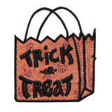 ID 0853 Trick Treat Candy Bag Patch Halloween Sack Embroidered Iron On Applique