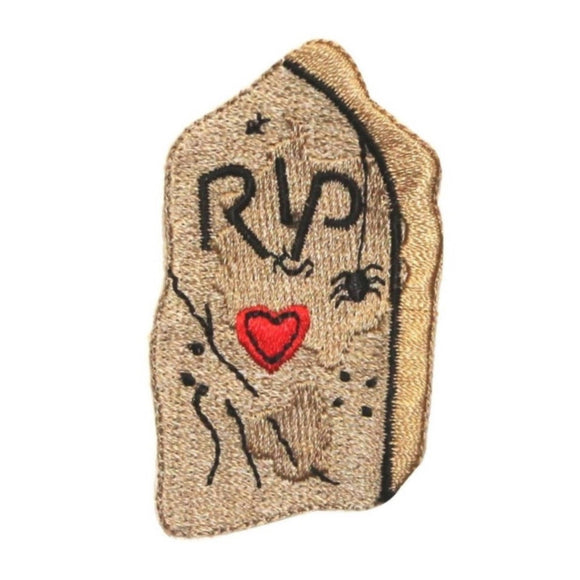 ID 0857B Tombstone RIP Patch Halloween Cemetery Embroidered Iron On Applique