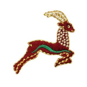 ID 0740 Gazelle Jumping Patch Reindeer Deer Leap Embroidered Iron On Applique