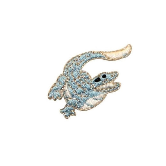 ID 0746B Blue Alligator Patch River Cute Crocodile Embroidered Iron On Applique