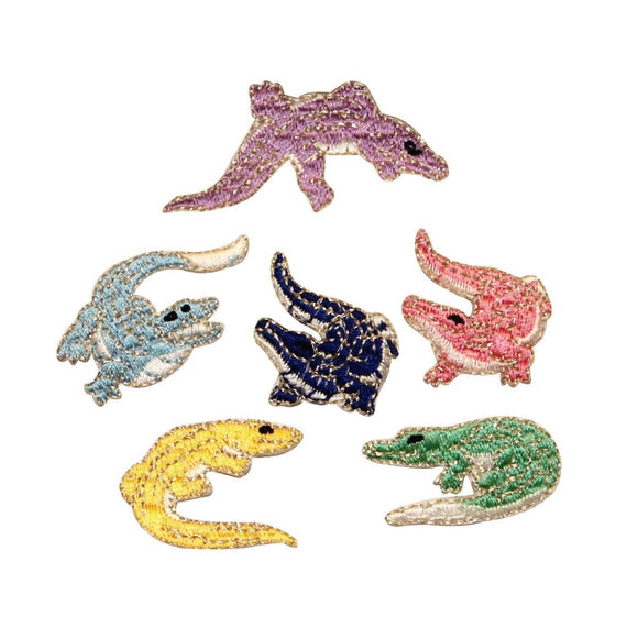 ID 0746A-F Set of 6 Colorful Alligator Patch Badge Embroidered Iron On Applique