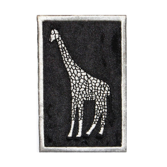 ID 0753 Giraffe Badge Patch Wild Life Zoo Portrait Embroidered Iron On Applique