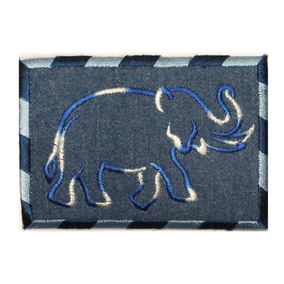 ID 0766 Elephant Outline On Denim Patch Zoo Wild Embroidered Iron On Applique