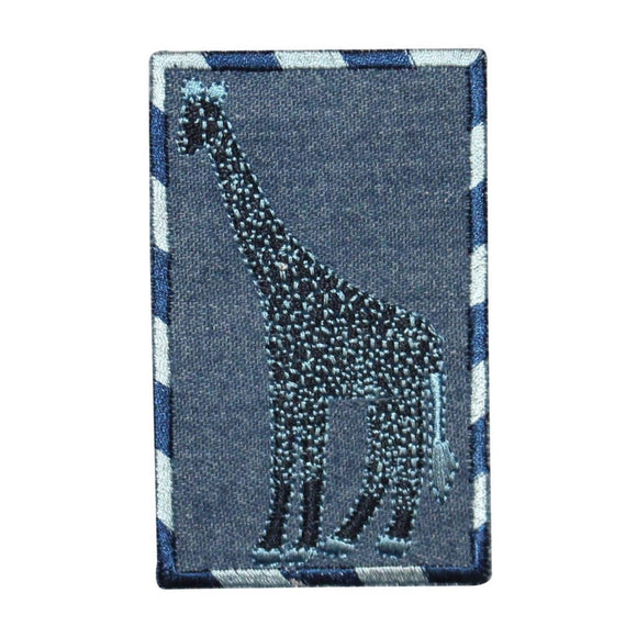 ID 0767 Giraffe On Denim Patch Zoo Wild Portrait Embroidered Iron On Applique