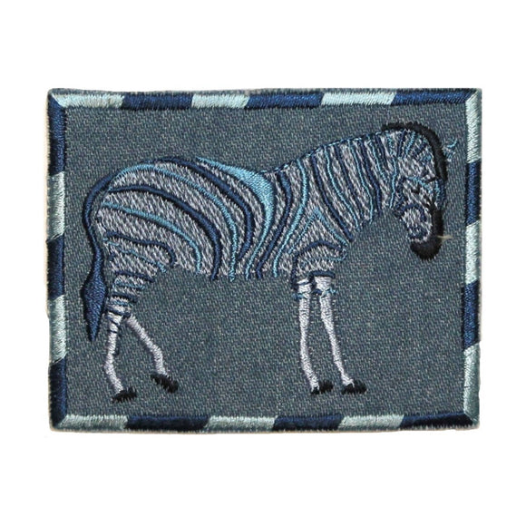 ID 0769 Zebra On Denim Patch Stripes Wild Portrait Embroidered Iron On Applique