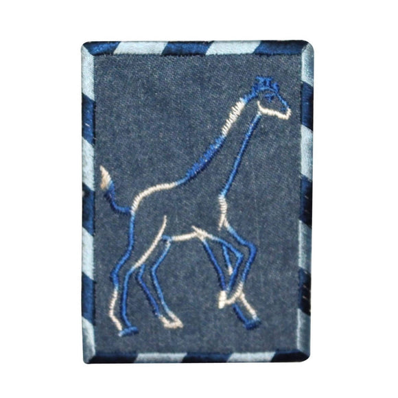 ID 0770 Giraffe Outline On Denim Patch Zoo Badge Embroidered Iron On Applique