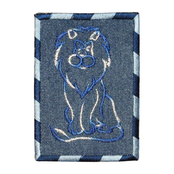 ID 0771 Lion Outline On Denim Patch Zoo Portrait Embroidered Iron On Applique