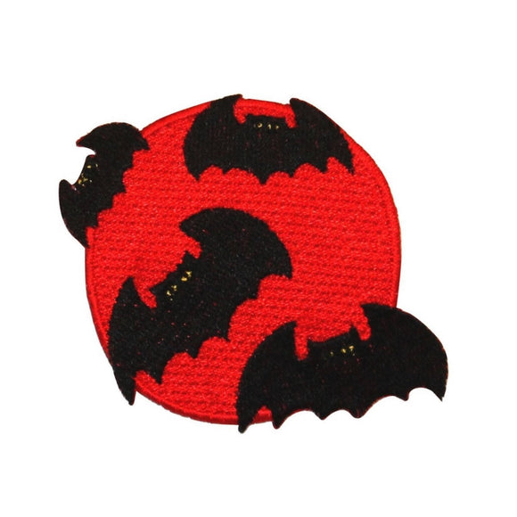 ID 0927Z Blood Moon With Bats Patch Halloween Night Embroidered Iron On Applique