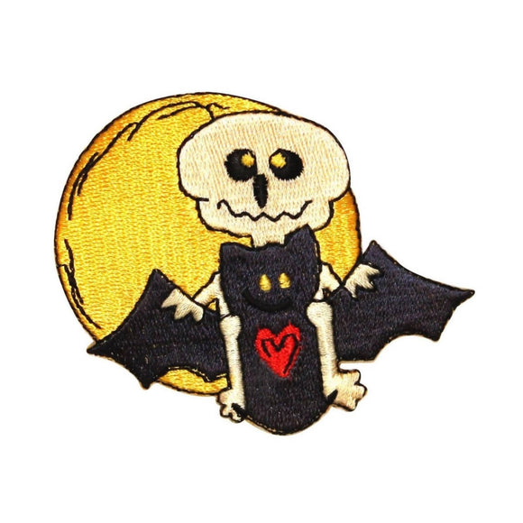 ID 0933 Skeleton Riding Bat Patch Halloween Night Embroidered Iron On Applique