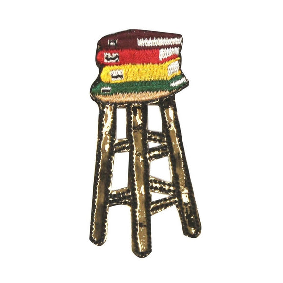 ID 0988A School Stool With Books Patch Class Chair Embroidered Iron On Applique