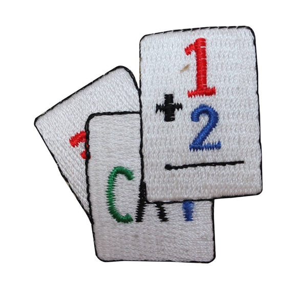 ID 0990B School Flashcards Patch Practice Teaching Embroidered Iron On Applique