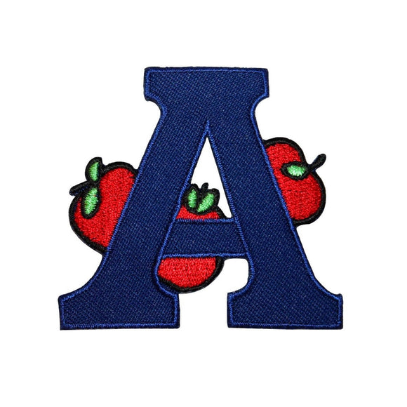 ID 0992 Letter A Apple Patch School Reading Learn Embroidered Iron On Applique