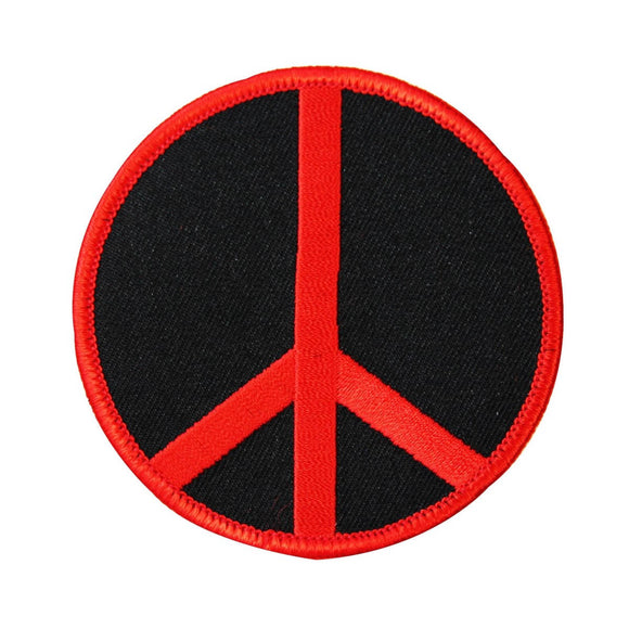 3 Inch Peace Sign Red on Black Patch Hippie Apparel Decoration Iron On Applique