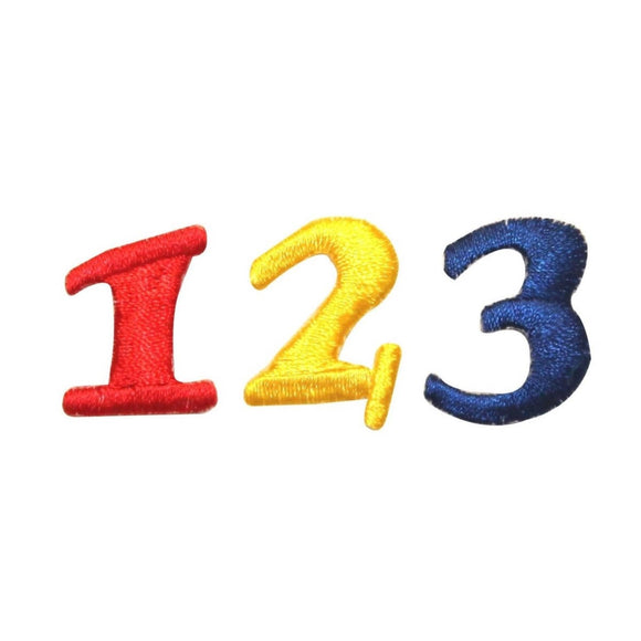 ID 1006ABC Set of 3 School Numbers Patch 1 2 3 Embroidered Iron On Applique