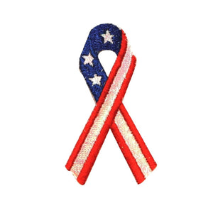 ID 1032 America USA Ribbon Patch Flag Patriotic Embroidered Iron On Applique